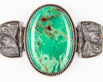 Bracelet green chrysoprase