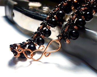 Black and Copper Chainmaille Bracelet