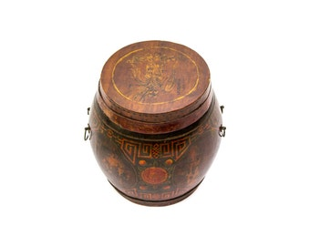 Lacquered Wood Box, Chinoiserie Style Round Barrel Box