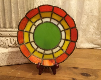 Mid century stained glass planter saucer