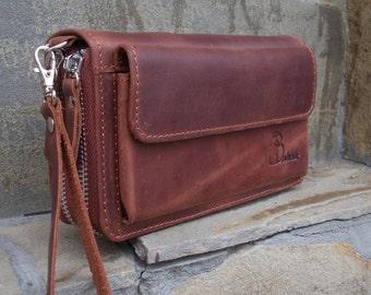 Zip around wallet Leather handbag Cognac Wrist bag Handmade clutch Travel organize Motorists wallet clutch Travel wallet Passport case
