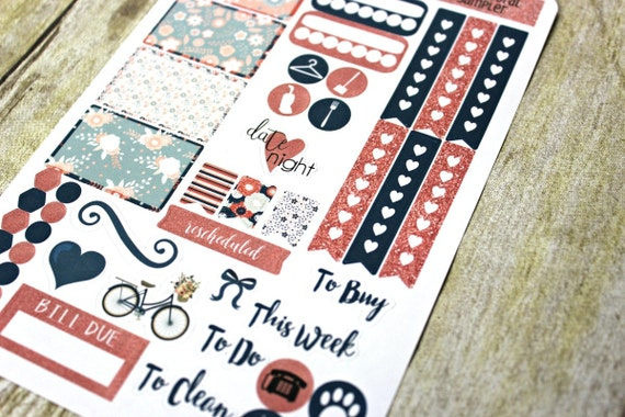 Planner Stickers Sampler - Navy Coral Planner Stickers - Happy Planner - Day Designer - Functional stickers - Fits Erin Condren - Sampler