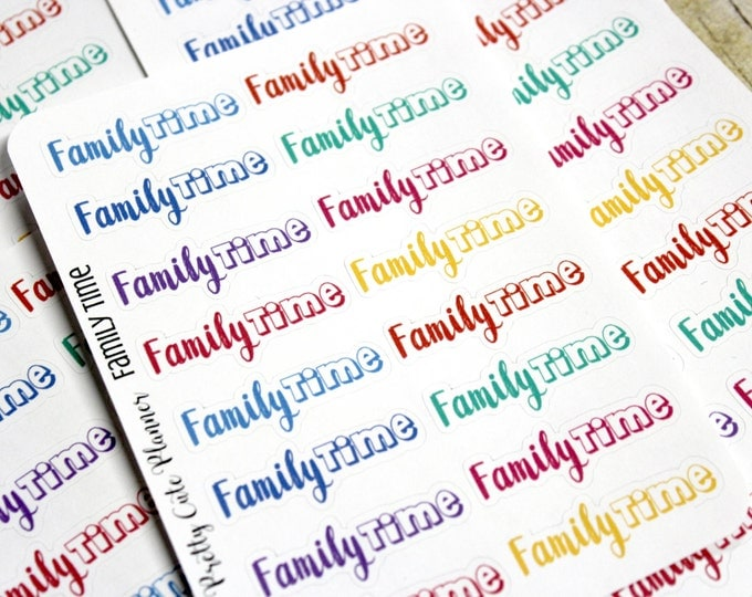 Planner Stickers - Family Time Stickers - Reminder Stickers - Functional Stickers - Rainbow Stickers - Fits Erin Condren - Happy Planner