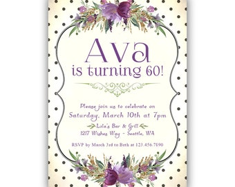 60th birthday invitations for women, Birthday Dinner Party, Adult Surprise Birthday Party, Garden Party, turning 30 40 50 60 70 or any age