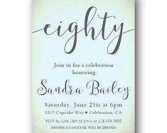 80th Birthday Invitation, Any Age, 50th Birthday party, 60 Birthday invite, 70 Birthday Invitation, Adult party, blue, turquoise,