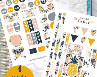 Pineapple Designer Kit // Planner Stickers // Planner Accessories // Perfect for Vertical Life Planner // 4 Page Kit