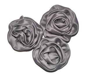 3 Satin Rosette Flowers, Grey Fabric Roses, Wholesale Flowers, Headband Supplies, DIY Mixed Flowers, #1