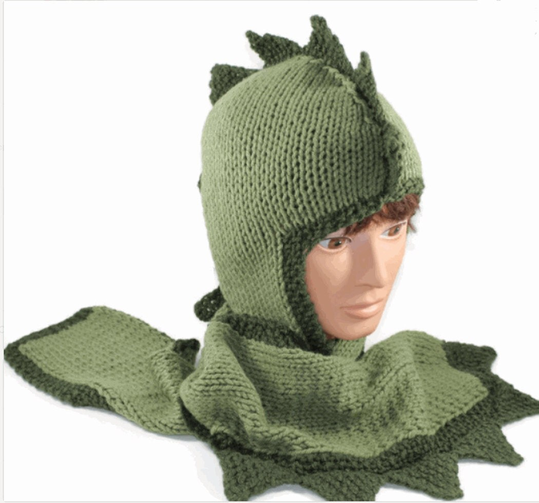 Hand Knitted Dragon Hoodie Hat Scarf Scoodie By Custom Order