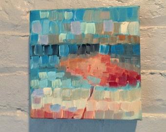 Beach Painting, Ocean Abstract , Beach Umbrella