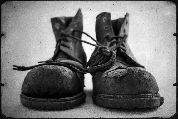 OLD BOOTS. photographic print, limited edition print, worn out boots, still life