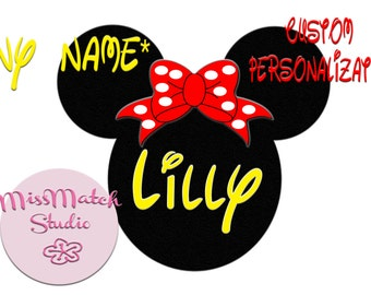 Custom ANY Name Mickey Mouse Head Disney Family Download Iron On Craft Digital Disney Cruise Line Magnet Shirts