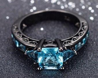 LEAVING SOON Classical princess cut aquamarine ring