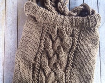 Hand-knitted bag with cables