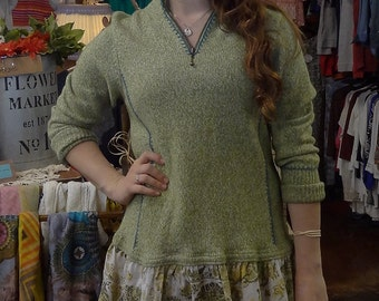Upcycled Green Sweater with Cotton Ruffle,Eco-Fashion,Recycled Shirt