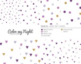 80% OFF SALE Digital Paper Violet 'Pack02' Gold Glitter & Violet Confetti Digital Printable Art for Scrapbook, Party Invitations, Crafts...