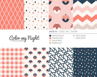 80% OFF SALE Digital Paper 'Pack01' Chevron, Gingham, Drops, Fruits, Crosshatch & Abstract Backgrounds for Scrapbook, DIY Projects...