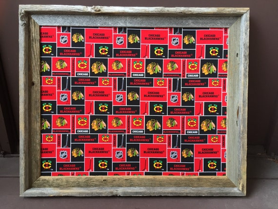 Bulletin Board made with Chicago Blackhawks Fabric, Cork Board, Pin Board, Chicago Sports Art, Ice Hockey Gifts, Hockey Decor, Man Cave Bar