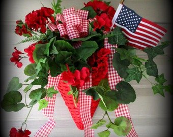 "Red Wall Basket-20"" -Red and White Gingham Bow- Geraniums and Greenery Bow -Flag-ON SALE"