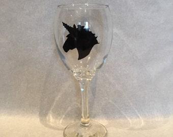 Large unicorn wine glass