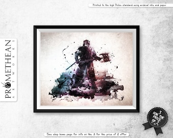 Lord of the Rings inspired Gimli watercolour / watercolor abstract effect print - 3 FOR 2