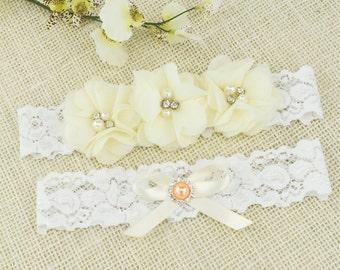 Ivory Bridal Garter Set Wedding Garter Bridal Garter Lace Garter Bridal Garter Rhinestone Garters Ivory Flower Garter Set