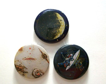 Retro Outer Space Pin Button Badges