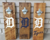 Detroit Tigers Pallet Wood Bottle Opener (18x5.5)