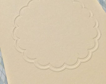 Scalloped Circle Embossed Cardstock Pick Your Color and Qty