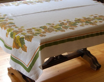 Vintage Fall/Autumn Tablecloth Fall Colors Brown Amber Green on White Cotton Maple Oak Leaves Border Autumn Decor 50s 60s