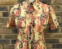 Seventies vintage french art nouveau print blouse