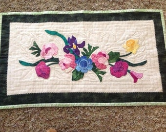 Hand Quilted  and Hand Appliqued Table Runner