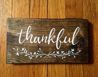 Fall Wood Sign, Fall Wall Art - Thankful Sign Decor