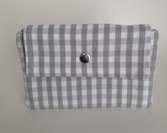 Grey and White Checkered Wallet by Jenny K Designs