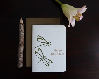 Dragonfly Birthday Card - Handmade Greeting Card - Paper Cutout