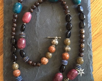 Black Onyx and African bead single strand statement necklace