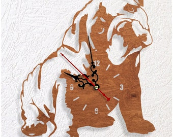 Wooden wall clock Bulldog