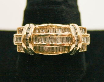 Round diamond and baguette men's ring size 13
