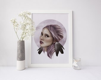 Woman Portrait Illustration Art Print Wall Art Pink Purple Drawing Fashion Illustration Suki Waterhouse Whimsical Watercolor Pastel Art