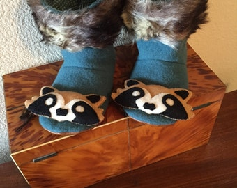 Child's felted wool slippers/House shoes/reclaimed/up-cycled/repurposed wool/hand embroidered raccoons