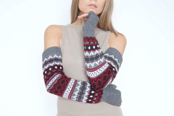 Long arm warmers Scandinavian mittens Fingerless Gloves Gauntlets Womens Gloves Wrist Warmers Extra-long arm warmers
