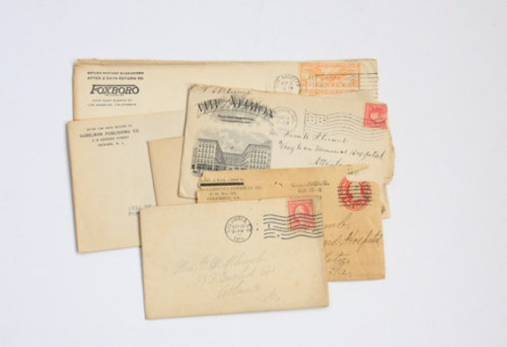Set of 6 Antique and Vintage Letters and Envelopes - Ephemera - Stationary - Mixed Media - Altered Art - Collage - Assemblage - Scrapbooking