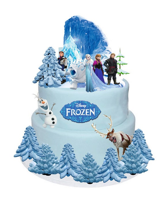 Frozen Cake Party Set Stands Up Figures Toppers Wafer 31Pcs