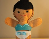 Teal and White bikini, felt doll 2 piece swimsuit, swimwear for dress up dolls by Emmi Jaine