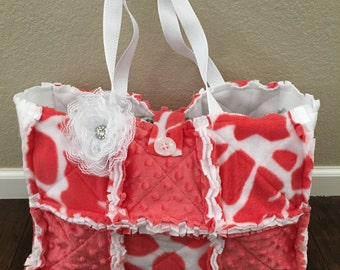 Rag Quilt Diaper Bag-Coral and White Giraffe Print and Coral Minky