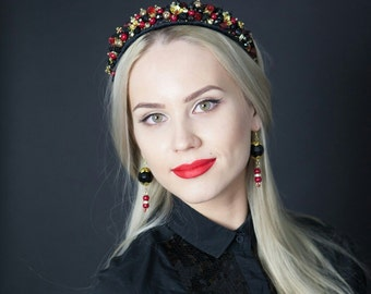 Red headband ,Crown, Headband jewelry ,Headpieces
