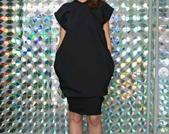 Black cotton jersey balloon open-back dress with 2 pockets