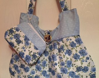 Floral tote bag with matching purse