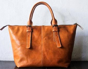 Leather shoulder Bag, CarryAll, Laptop, MacBook, Shopping Bag , Handmade Vegetable Light Tanned Cow Leather