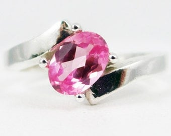 Pink Sapphire Offset Oval Ring Sterling Silver