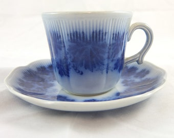 Flow Blue Demitasse Espresso Cup & Saucer, Upsala-Ekeby Sweden, Vinnanka Percy by Gefle, Blue Grape Leaves and Grapes, Ribbed, Pottery